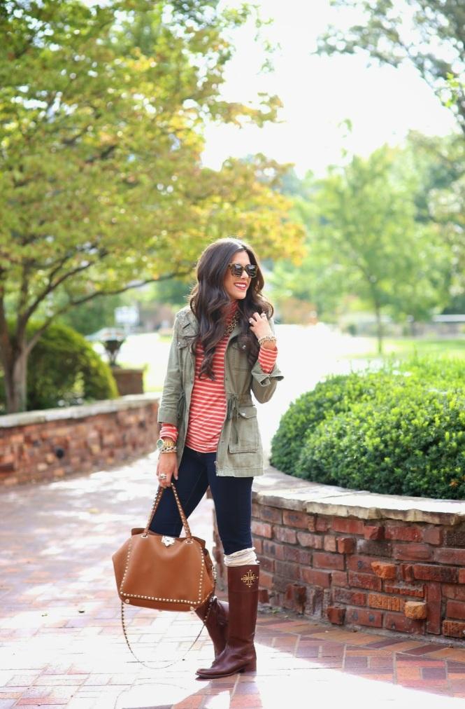 military jacket nordstrom, valentino tote bag, rock stud valentino bag, karen walker sunglasses, j brand jeans, red striped turtleneck.jpg